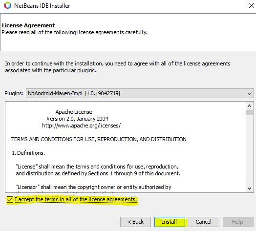 Aceptar los términos de licencia de NbAndroid