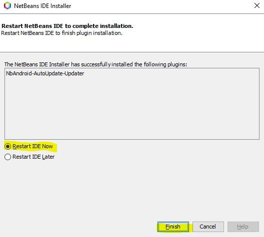 Reinciar Apache NetBeans tras instalar NbAndroid