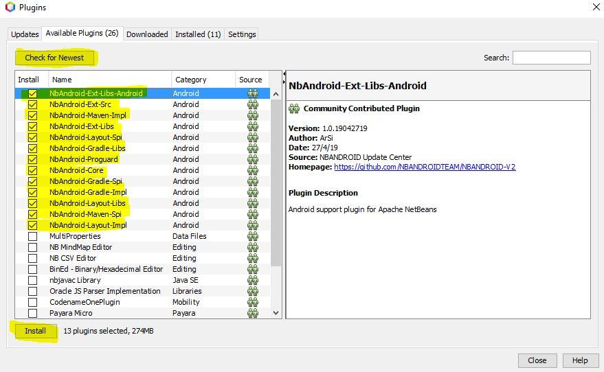 Instalación de todos los plugins de NbAndroid
