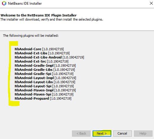 Lista de plugins a Instalar de NbAndroid